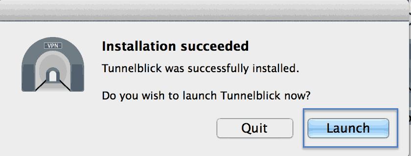 Installation Tunnelblick Mac os X Step 4