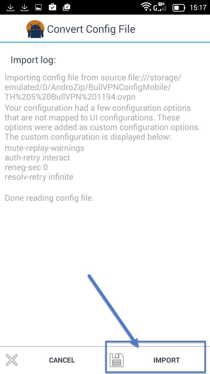 Installation Openvpn Android step 10