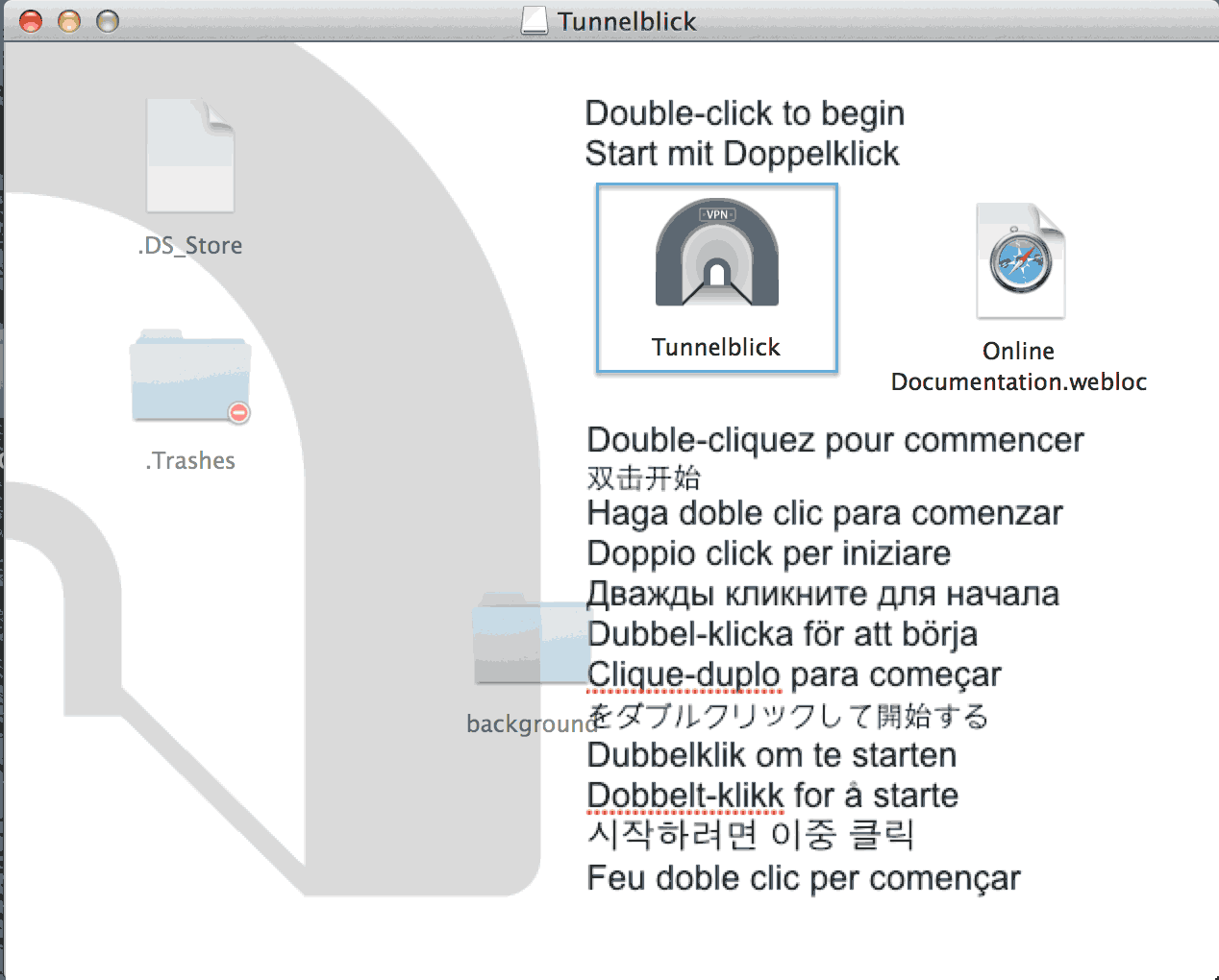 Installation Tunnelblick Mac os X Step 2