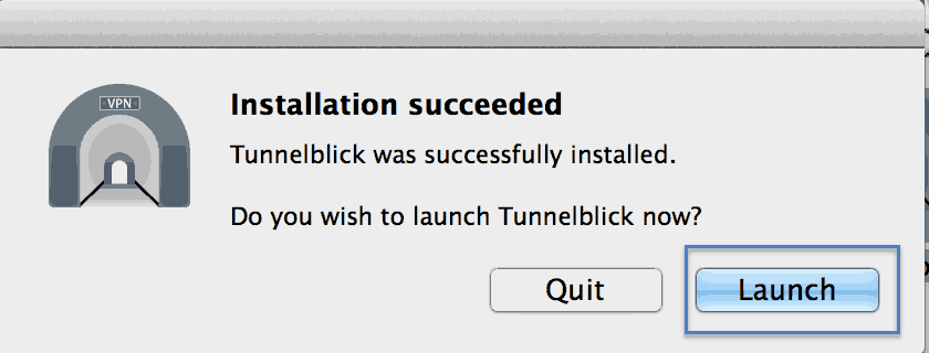 Installation Tunnelblick Mac os X Step 4