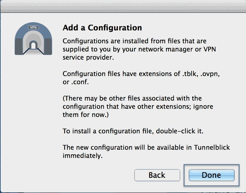Installation Tunnelblick Mac os X Step 6