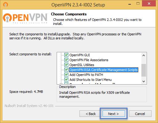 ขั้นตอนการติดตั้งโปรแกรม OpenVPN Installer ขั้นตอนที่ 4